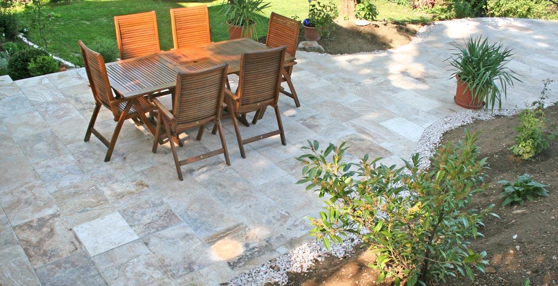 Terrassenplatte Marmor Travertin BERNIT Fliesen Naturstein - Terrassensteine 40x40